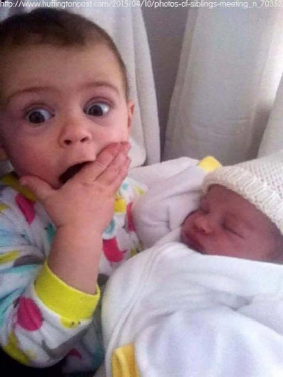 بالصور.. ردود أفعال الأطفال عند مشاهدتهم حديثي الولادة لأول مرة