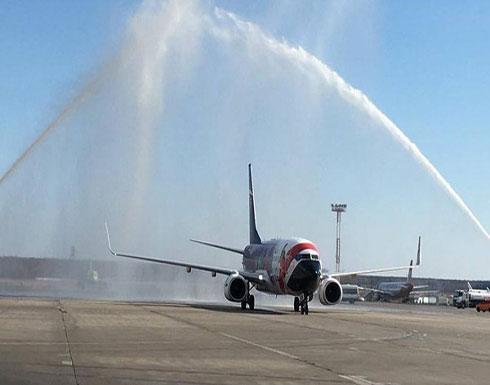 فيديو.. ما السر برش مياه على طائرة المنتخب المصري فور وصولها موسكو!
