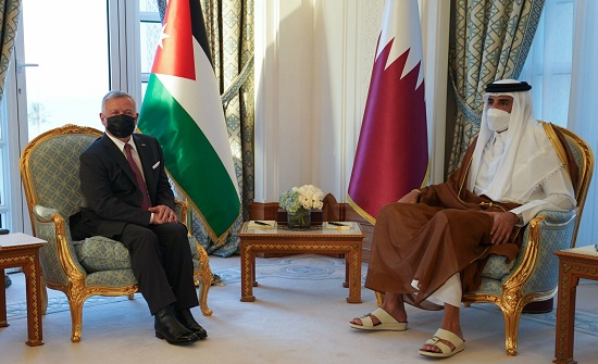 الملك لأمير قطر : قضية فلسطين مركزية وندعم الحفاظ على سيادة سوريا