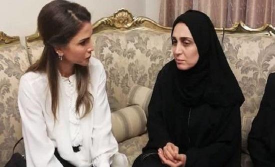 الملكة رانيا تزور بيت عزاء الطفلة تالا