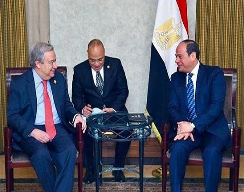 السيسي وغوتيريس يبحثان الأزمة الليبية في أديس أبابا