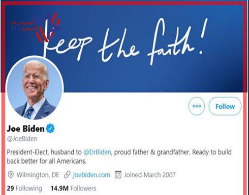 """بايدن وهاريس يغيران صفتيهما في """"تويتر"""" إلى الرئيس ونائب الرئيس المنتخبين"""