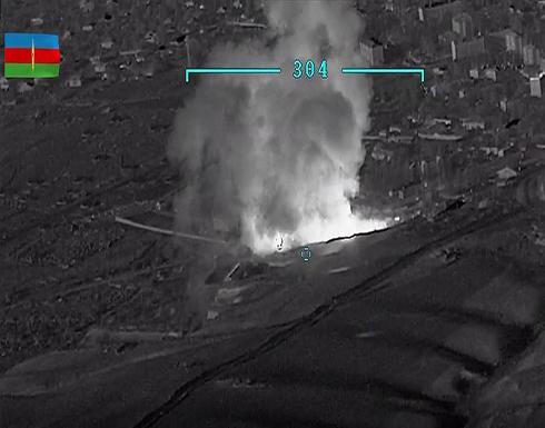 شاهد : أذربيجان تنشر مشاهد تدمير مستودع ذخائر للجيش الأرميني