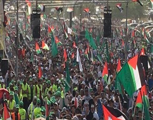 صور وفيديو : آلاف الاردنيين شاركوا في مهرجان (فلسطين عنوان النصر ) في سويمة بالبحر الميت