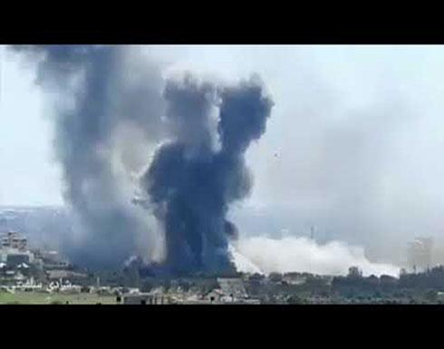 شاهد :لحظة  قصف اسرائيلي على قطاع غزة