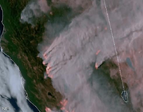 شاهد : حرائق كاليفورنيا.. فيديو من الفضاء للجحيم المستعر