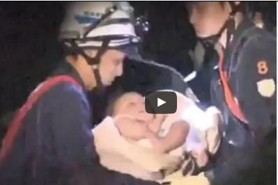 بالفيديو.. إنقاذ طفلة رضيعة من تحت الأنقاض آثر زلزال عنيف باليابان