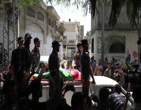 شاهد : تشييع جثمان الشرطي سلامة النديم التابع لحركة حماس في غزة