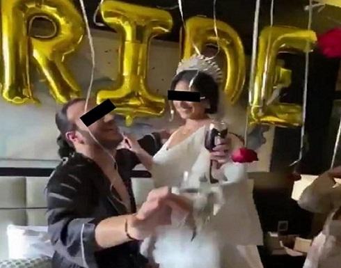 """بالصور.. مصر : حفل زفاف بـ""""الروب الستان """" مع الأصدقاء في غرفة نوم العروسين !"""