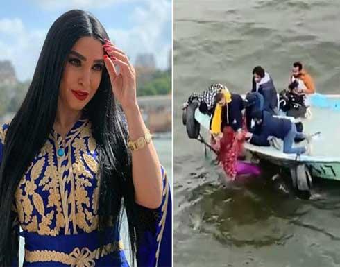 """شاهد .. لحظة إنقاذ الفنانة المصرية """"روجينا"""" من الغرق في النيل"""