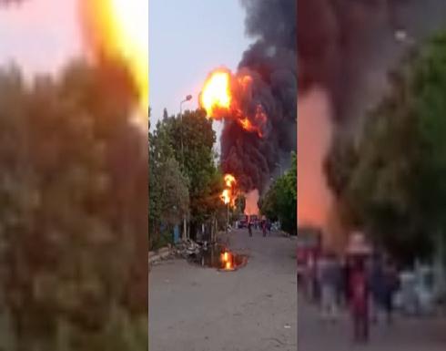 شاهد : حريق في مصنع للمواد الكيماوية بمدينة المنوفية