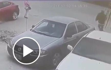 لحظة اختطاف حقيبة من امرأة أثناء توقفها بالطريق (فيديو)