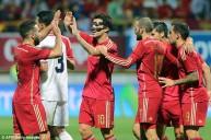 فرحة لاعبي إسبانيا