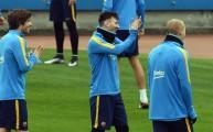 ميسي خلال تدريبات برشلونة الأخيرة