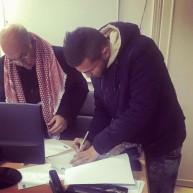 حسام أبو سعدة لحظة توقيعه