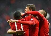 فرحة لاعبي بايرن ميونيخ بأحد الأهداف